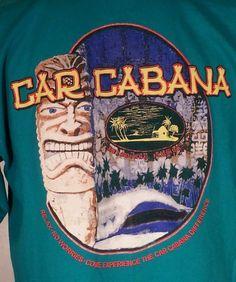 Tiki God Car Cabana T Shirt Mens Sz L Palm Trees Island Hut #TikiGodTshirt #CarCabanaTiki