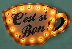 Cute and vintage tea cup marquee sign