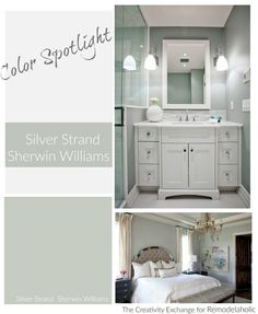 Silver Strand from Sherwin Williams. Fantastic gray for poorly lighted spaces. Color Spotlight on Remodelaholic. Silver Strand from Sherwin Williams. Fantastic gray for poorly lighted spaces. Color Spotlight on Remodelaholic. Room Colors, Grey Color Scheme, Sherwin Williams Silver Strand, Paint Colors For Home, Bathroom Colors, Paint Colors, Green Grey Paint, Painting Bathroom, Silver Strand Paint