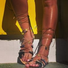 RiRiPoM Tie Up Gladiator Sandals Greek Sandals Semi by RiRiPoM