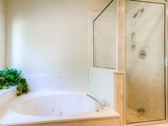 Large jetted tub with walk in shower.