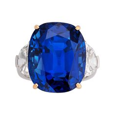 Natural GIA Cert 35.07 Carat Burma Sapphire Diamond  Ring | From a unique collection of vintage cocktail rings at https://www.1stdibs.com/jewelry/rings/cocktail-rings/