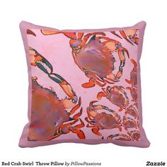 Red Crab Swirl  Throw Pillow