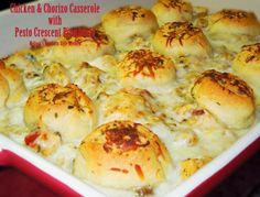 Melissa's Southern Style Kitchen: Chicken & Chorizo Casserole with Pesto Crescent Pinwheels