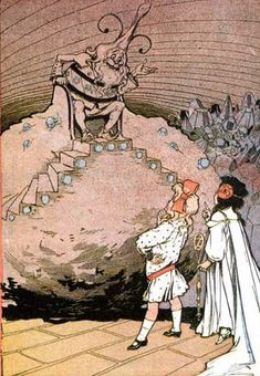 Dorothy, Ozma, and The Gnome King in Ozma of Oz (1907), illustration by John R. Neill.