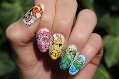 "nailsbycoewless: "" Pokémon nails! Because I had to! :) """