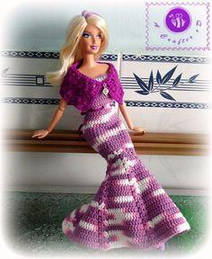 Crochet fashion doll mermaid dress - Maz Kwok's Designs