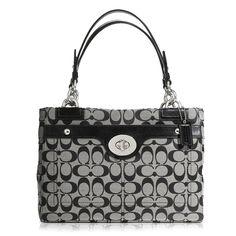 Coach Black / White Handbag Penelope Signature Carryall F16540 (C274)