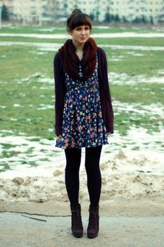 floral dress, opaque tights, sweater, scarf. also, killer bangs.