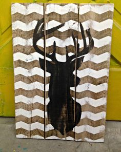 Chevron Deer Bust / Stag Sign 20x24 by Junque2Jewels on Etsy, $38.00