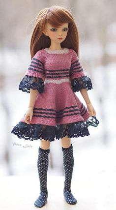 "#Pink #dress for #dolls #BJD #MSD, love #romantic lace double layer, outfit for #BJD 42 cm, #Minifee, #Kaye #Wiggs, #Unoa, chic #outfit #iplehouse Jid #dress for doll 16 "", 17"" and 18"" #BJDDoll #fairylandbjd #minifee #mirwen #fairyland"