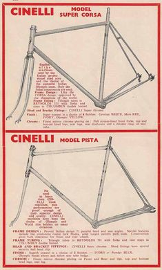 Cinelli Super Corsa road frame and a Pista track frame. Retro Bicycle, Old Bicycle, Bicycle Art, Cool Bicycles, Vintage Bicycles, Push Bikes, Cycling Art, Bike Frame, Pista