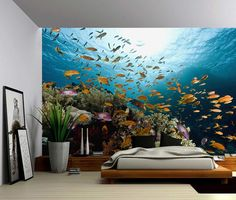 Underwater Fish Ocean World Large Wall Mural by GlowingWallDecor