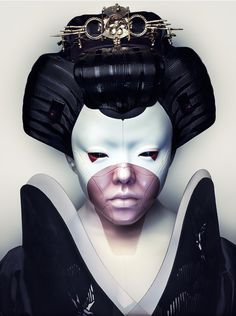 "Geisha from ""Ghost in the Shell"" - Japanese Tattoo Art, Japanese Art, All Avengers Movies, Geisha Makeup, Geisha Art, Mode Cyberpunk, Arm Tattoo, Schulter Tattoo, Poses For Men"
