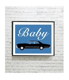 "Supernatural Digital Art Print - Impala Baby - Sam Winchester - Dean Winchester - Carry On My Wayward Son - Castiel - Bobby - 8""x10"" by OutlineArt"