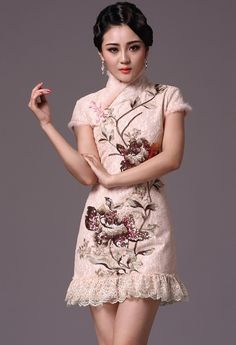 Winter Qipao / Cheongsam / Chinese Dress with Quilting Detail