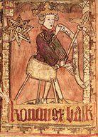 King dispensing justice, from National Law Codes of Magnus Eriksson (1319-64)   Artist: Swedish School ()   Musem: Uppsala University Collection [Universitet Konstsamling]