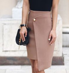 Ribbed Racer Bodysuit - Missguided ( Here ) Button Wrap Skirt - Few Moda ( Here ) Vinyl Heels - Zara / Similar ( Here ) Bag. Blouse And Skirt, Dress Skirt, Fall Skirts, Elegant Outfit, Classy Outfits, Skirt Outfits, Autumn Fashion, Fashion Dresses, Clothes For Women