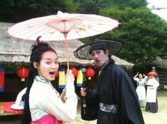Actress Shin Min Ah poses with the Grim Reaper on the set of 'Arang and the… Korean Actresses, Actors & Actresses, Time In Korea, Korean Drama Movies, Korean Dramas, Shin Min Ah, Arang And The Magistrate, Drama Tv Series, Watch Drama