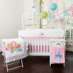 Aqua Peacock Crib Bedding Set #tinytotties #babybedding
