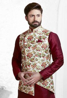 Buy Off White Silk Readymade Nehru Jacket 165021 online at lowest price from our mens wear collection at Indianclothstore.com.