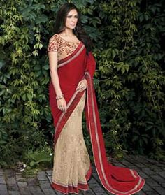 Buy Red Silk Georgette Half and Half Saree 73810 with blouse online at lowest…