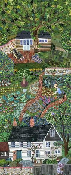 Virginia Woolf and her writing shed. Monks House weekend, The Woolfs (Virginia and Leonard) at home, Vanessa Bell visits. Illustrated by Amanda White Art And Illustration, Editorial Illustration, Graffiti Kunst, Collage Kunst, Collage Art, Virginia Woolf, Henri Rousseau, Arte Popular, Naive Art