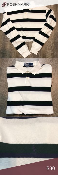 Men's Polo Ralph Lauren Long Sleeve Polo size L ✨ Amazing and very comfortable men's Polo Ralph Lauren stripes polo shirt. In great condition! The shirt is white with dark green and dark blue stripes. Add this to your collection today! Approximate measurement: Sleeve: 24 Inches, pit to pit: 23.5 Inches, length: 28 Inches front, 30 Inches back. Polo by Ralph Lauren Shirts Polos