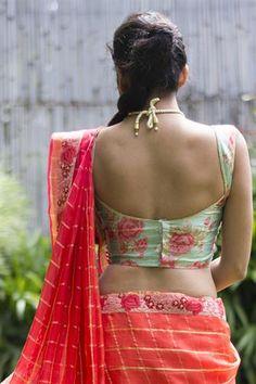 Pink rose printed mint raw silk blouse