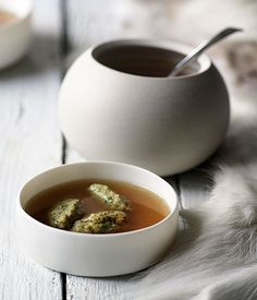 Australian Gourmet Traveller soup recipe for chicken broth with bone marrow dumplings