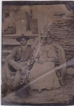 The Newlyweds Vintage Photo - Antique African American Tintype Photograph