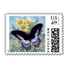 "Black  Vintage ""Beautiful Butterfly"" Postal Stamp"