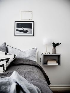 Grey bedroom decor, bedroom inspiration, calming monochrome bedroom