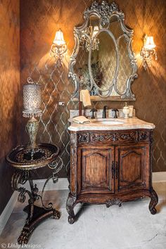 Powder Room!~~~This is the same Vanity we just put in our new Bathroom except mine has Black Marble. Love This!!!