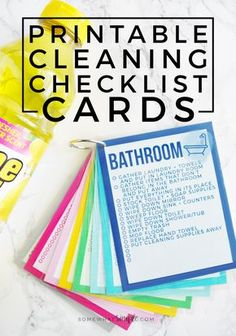 These colorful Printable Cleaning Checklist Cards will help tackle everyday household chores! Plus ideas on how to make a simple cleaning caddy!