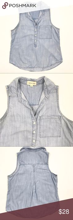 "Cloth & Stone Chambray Denim Sleeveless Top Anthropologie Cloth & Stone Chambray Denim Sleeveless Top. Small white polka dots. 100% tencel. Size Medium. Bust measures 18"". Length measures 24"". Excellent preowned condition. No trades, offers welcome Anthropologie Tops Tank Tops"