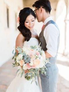 Bridal Bouquet, blush, peach, mint, ivory, coral. Succulent bouquet. Dahlias, garden roses, astilbe, eucalyptus.  -Florals by Jenny  -Honey Honey Photography -Franciscan Gardens