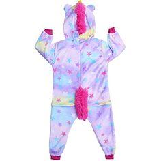 fee1fdf0f1278 Freebily Unisexe Enfants Pyjama Combinaison À Capuche Mignon Licorne Animaux  Déguisement Cosplay Costume Garçon Fille Vêtements de Nuit 2-12 Ans ...