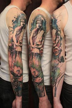 This surreal Buddha tattoo is an excellent choice for people who wants colorful and yet calming design. It's soothing to the eyes since there are no harsh lights and the colors make it look like a hazy dream.