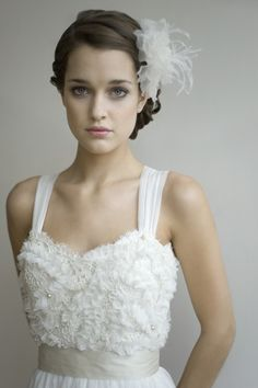 Stunning wedding dress and hairpiece
