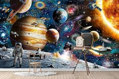 Blue Tones Amazing Astronaut on Space Adventure Wallpaper, Planets Wall Poster
