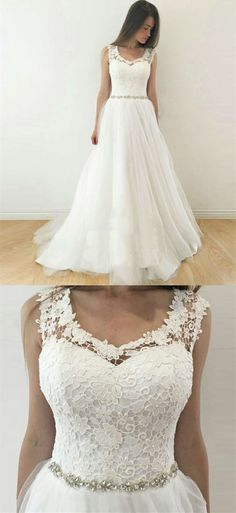 A-Line Scoop Open Back White Tulle Wedding Dress with Lace by Hiprom, $276.00 USD