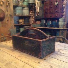 Antique Wood Tray Tote Carrier Box Original Green Paint Square Nails Aafa