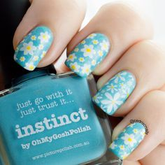 Daisy nails using Instinct by Picture polish as the base, and Cici & Sisi plate 12 underneath bornpretty 20 and mash 45.