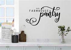 Wall Stickers Words, Vinyl Wall Decals, Vinyl Art, Kitchen Vinyl, Kitchen Wall Stickers, Farm Kitchen Decor, Sticky Vinyl, Vinyl Lettering, Textured Walls