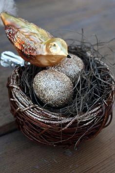 Shiny happy bird with eggs