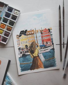 Guys, I made a painting. ☺️🎨 I saw @anouk.ll 's gorgeous photo and was immediately inspired. Message me if you're interested in purchasing this! . . . . #art #painting #watercolor #nautical #drawing #fashion #style #ocean #scandi #denmark #sea...