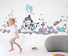 Fanciful Fishies Reusable Fabric Wall Decals by Pop & Lolli by popandlolli on Etsy https://www.etsy.com/listing/83035337/fanciful-fishies-reusable-fabric-wall