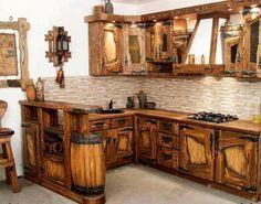cocina con madera reciclada