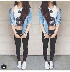 denim jacket, black/white crop top, leggings & converse. ❃